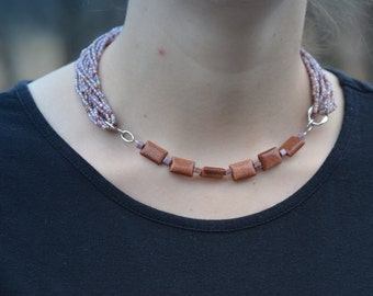 Light Purple and Goldstone Necklace