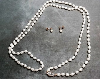 "Freshwater Pearl Necklace 36"" and Earrings"