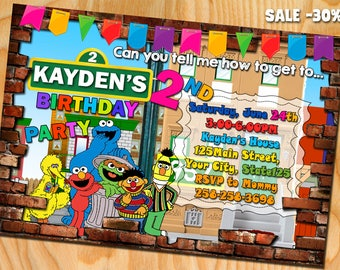 Sesame Street Invitation. Sesame Street Birthday Invitation. Sesame Street Party. Sesame Street birthday. Sesame Street