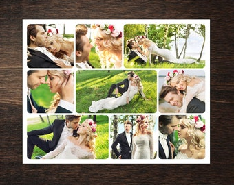 Photo Collage Template 8,5 x 11 #7, 9 photo, Storyboard Template with Normal & Rounded Corners, Photographer Template, PSD template