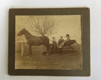 Vintage Cabinet Card c. 1900s - Family Carriage Ride on Farm
