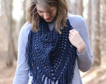Crochet Fringe Scarf // Triangle Scarf // Spring Scarf // Ready To Ship