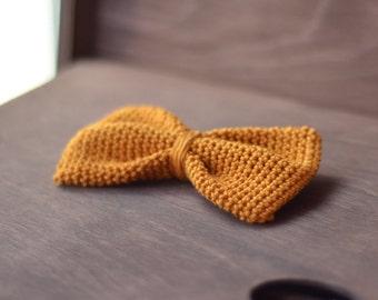 Crochet bow tie mustard.