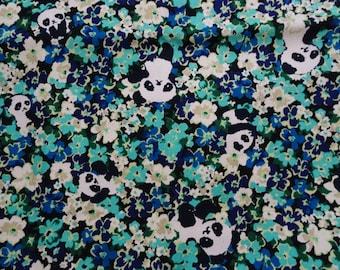 Panda Floral in Blue