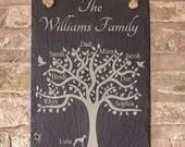 Personalised Family Tree Slate Plaque Family Tree Plaque Slate Family Tree Family Tree Family Tree Gift Fathers Day Gift Personalised