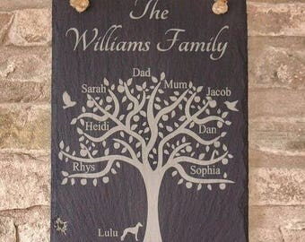 Personalised Family Tree Slate Plaque, Family Tree Plaque, Slate Family Tree, Family Tree, Family Tree Gift, Father's Day Gift, Personalised