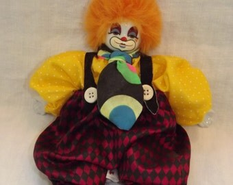 PORCELAIN CLOWN DOLL, Happy Clown, Jester, Circus, Birthday Party, Face Hands & Feet are Porcelain, Made in Thailand, Collector Clown,1980's