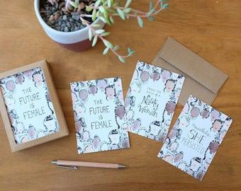 Feminist Notecard Set: 3 Designs, 12 Cards with Envelopes