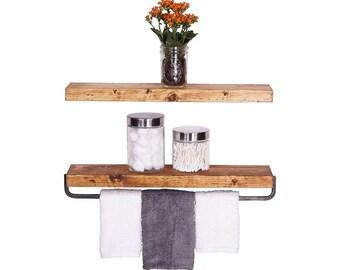Handmade Rustic Pine Wood (2 x 24 x 5.5-inch) Floating Shelves with Towel Bar (Walnut)