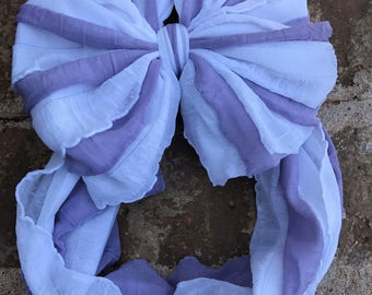 Lavender/white striped Messy Bow Headband