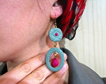 Entirely handmade earrings in polymer clay