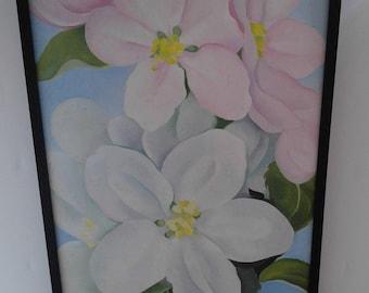 Vintage, Framed Georgia O'Keefe Apple Blossoms Print