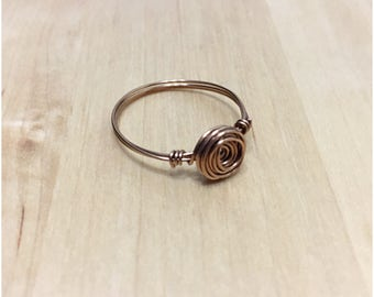 Rose Wire Wrapped Ring, Antique Brass Wire Ring, Rose Wire Ring, Antique Brass Ring, Rose Ring, Dainty Rose Ring, Brass Ring