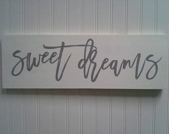 "7""x24"" Sweet Dreams, sweet dreams wood sign, neutral nursery decor, gray sweet dreams sign"