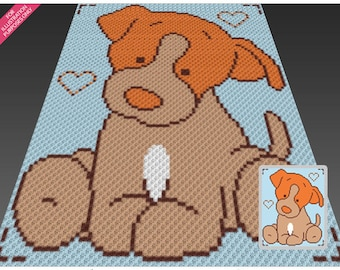 Friendly Puppy crochet blanket pattern; c2c, cross stitch; graph; pdf download; no written counts or row-by-row instructions