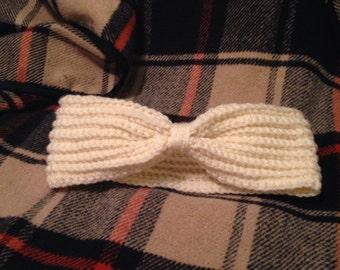Ribbed bow ear warmer