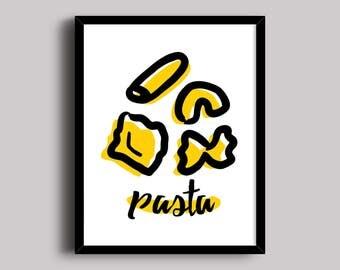 Pasta Print, Pasta Wall Art, Italian Food Print, Pasta Illustration, Kitchen Art Print, Culinary Art Print, Foodie Print, Instant Download