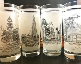 Frosted Tumblers Commerative Glasses honoring 150 years of State of Texas