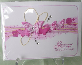 Birthday greeting card greeting card pink butterflies