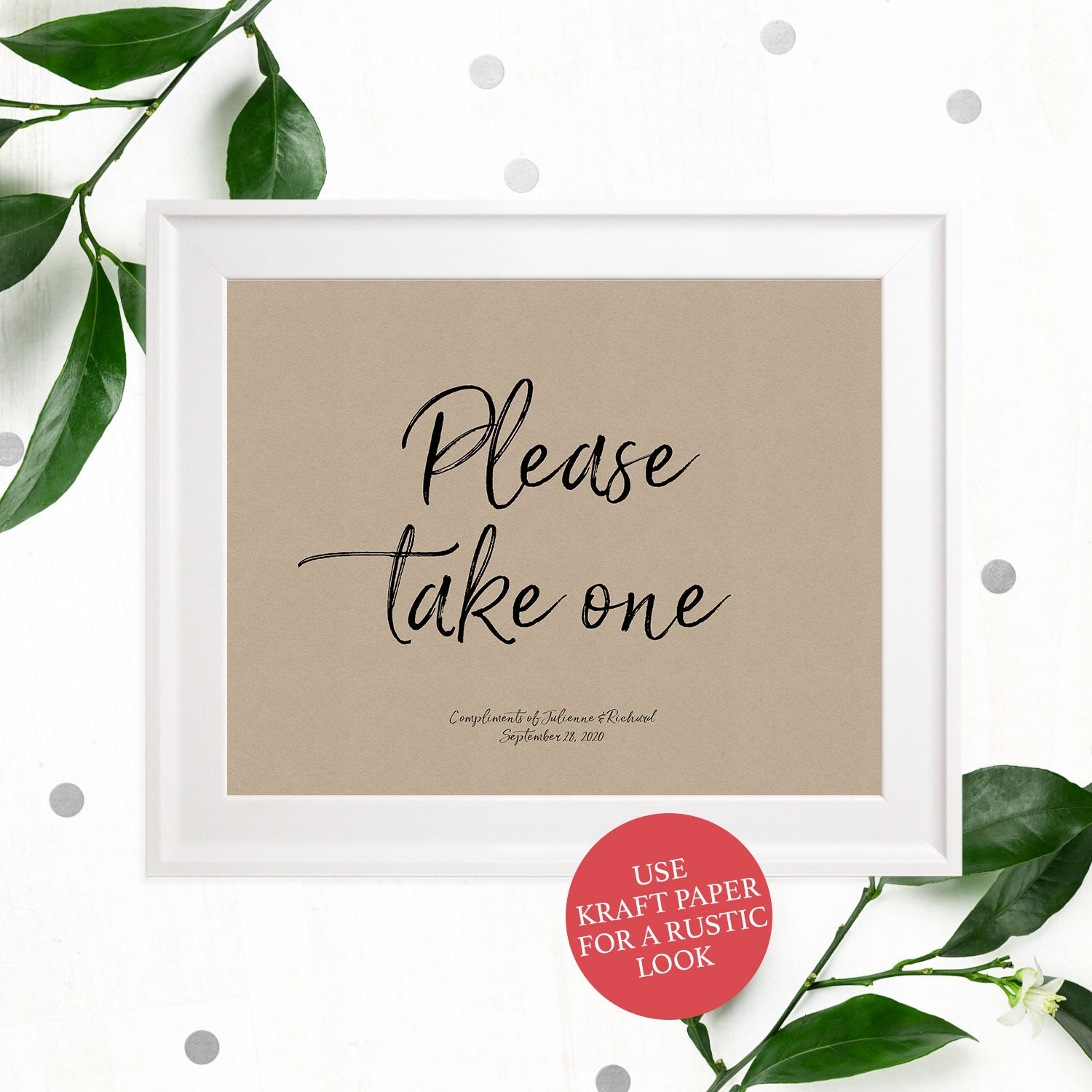 Please take one Printable Sign-Stylish Hand Lettered Calligraphy ...