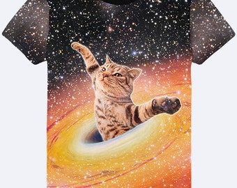 Galaxy Cat Mens Shirt, Space Funny T Shirt, Cat Clothes, Cool Shirt, Cat T Shirts, Funny Tees, Galaxy Top