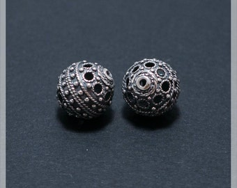 Sterling Silver 11 mm  beads 2 pcs