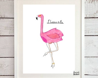 Flamingo Cute Pink Print Illustration Home Decor Nursery Art