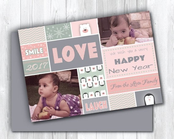 sweet happy new year  custom photo holiday card printable, Greeting card