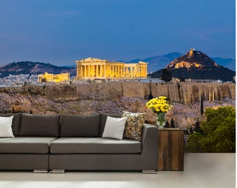 Acropolis wall mural, greece wall mural, acropolis wallpaper, athens wall mural, greece wallpaper, modern wall paper, old city wall mural