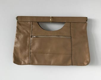 1970s Camel Leather Clutch