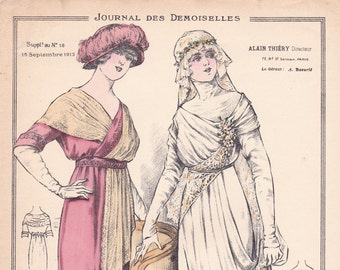 From sept 15 dated Journal of ladies fashion print. 1913 fashion. Sewing. WEDDING. french vintage!