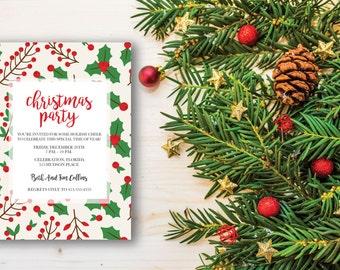 Christmas Party Invitation printable, Printable Invitation, Invitation Template, Christmas Invitation, Digital Invitation, Holiday Invitate