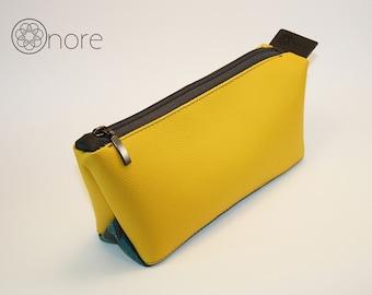 Yellow makeup bag / cosmetic bag / toiletry bag / pencil case / handmade