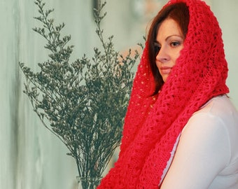 Openwork knit Snood, color fuchsia, scarf knitted openwork