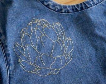 Denim Stitched Artichoke Top