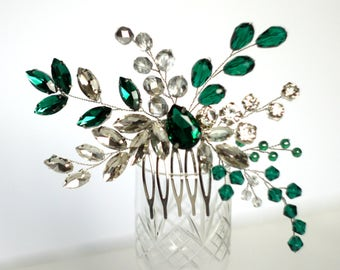 Rhinestones emerald hair comb, emerald wedding, bridal emerald headpiece, bridal emerald hair comb, rhinestones hair comb, crystal hair comb