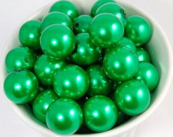 20 pcs Chunky Bubblegum Beads 20mm Green Pearl 20pcs