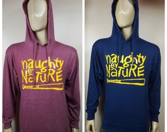 Naughty by Nature Lightweight Jersey Hoodie / Navy or Heather Burgundy