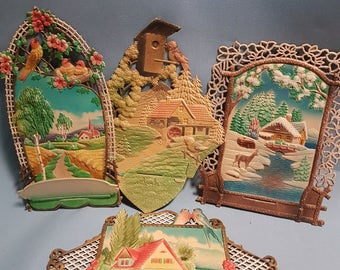 Vintage Die Cut Calendar Toppers Western Germany, Various Designs Batch 3