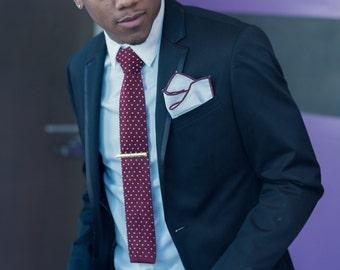 Men's knitted Skinny Tie + Handkerchief