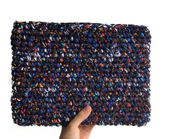 "13"" Hand knitted Laptop Sleeve made of 100% Recycled Fibers"