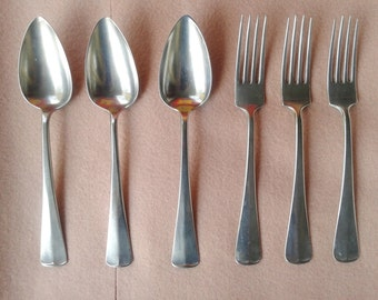 Antique Called Alpacca 3 (dessert) spoons and forks 3 (dessert)