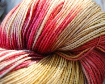 Hand-dyed Superwash Sock Yarn (#1) | Shades of Gold and Red - 100g