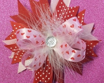 Pink marabou stacked bow