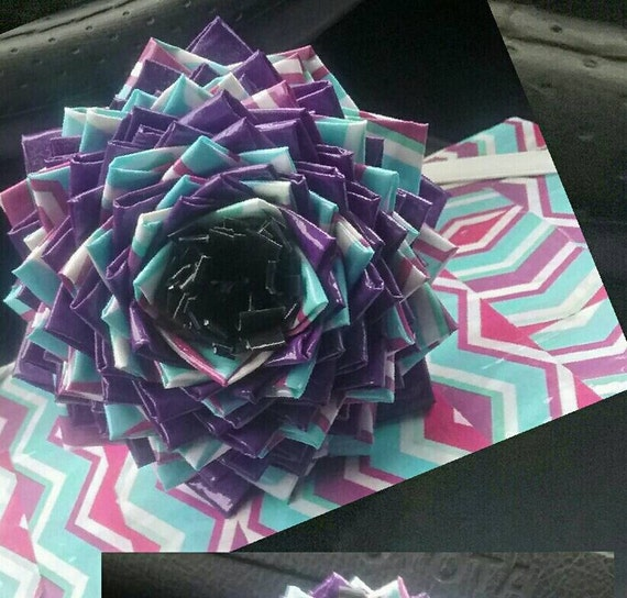 Colorful Hand made duck tape flower