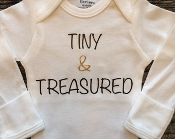 Tiny And Treasured, Baby Girl Onesie, Baby Shower Gift, Baby Girl Gift, Infant Clothing, Cute Baby Gift, Newborn Onesie