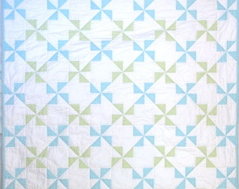 Aquamarine and Lime Green Pinwheel Baby Quilt
