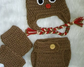 Reindeer Baby Ear flap Hat, Diaper Cover, and Leg Warmer Set