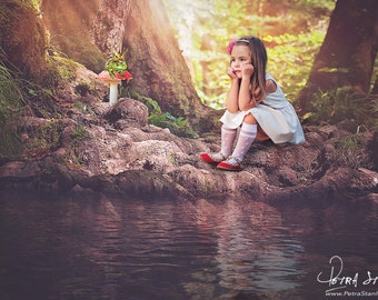 Fairytale Digital Background - Fairy - Water Reflection - Magical Forest Mushroom - Frog Prince - Digital Backdrop for Photographers - Prop