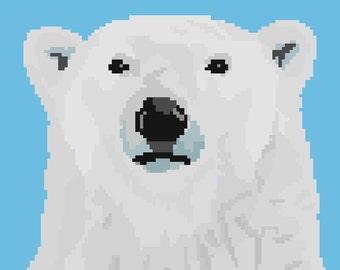 Polar Bear Pixel Art Sticker